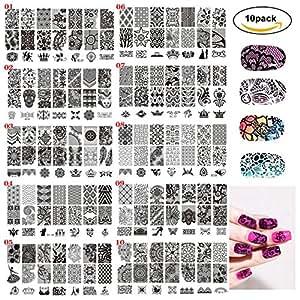 Huston Lowell Nail Art Stamping Image Plate Extra Large Full Nail Art Retangular Shape Stamping Plates