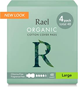 Rael Certified Organic Cotton Menstrual Large Pads - 4Pack/ 48 Total - Ultra Thin Natural Sanitary Napkins with Wings (4 Pack)
