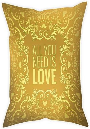 Yellow Satin Accent Pillow. Romantic