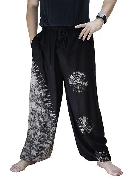 ATM Unisex Wide Leg Palazzo Relax Pajamas Drawstring Pants Handmade Tie dye Plus Size