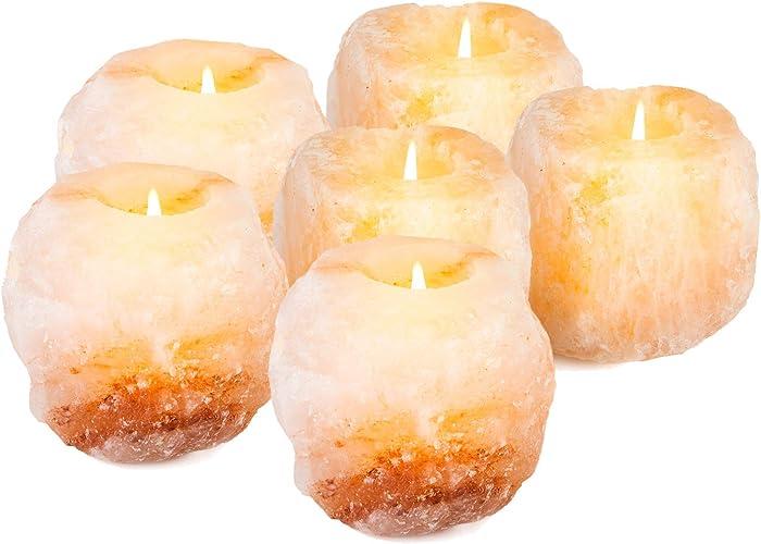 mockins 2.5 lbs 6 Pack Natural Himalayan Salt Tea Light Candles Holder | Great Room Decor