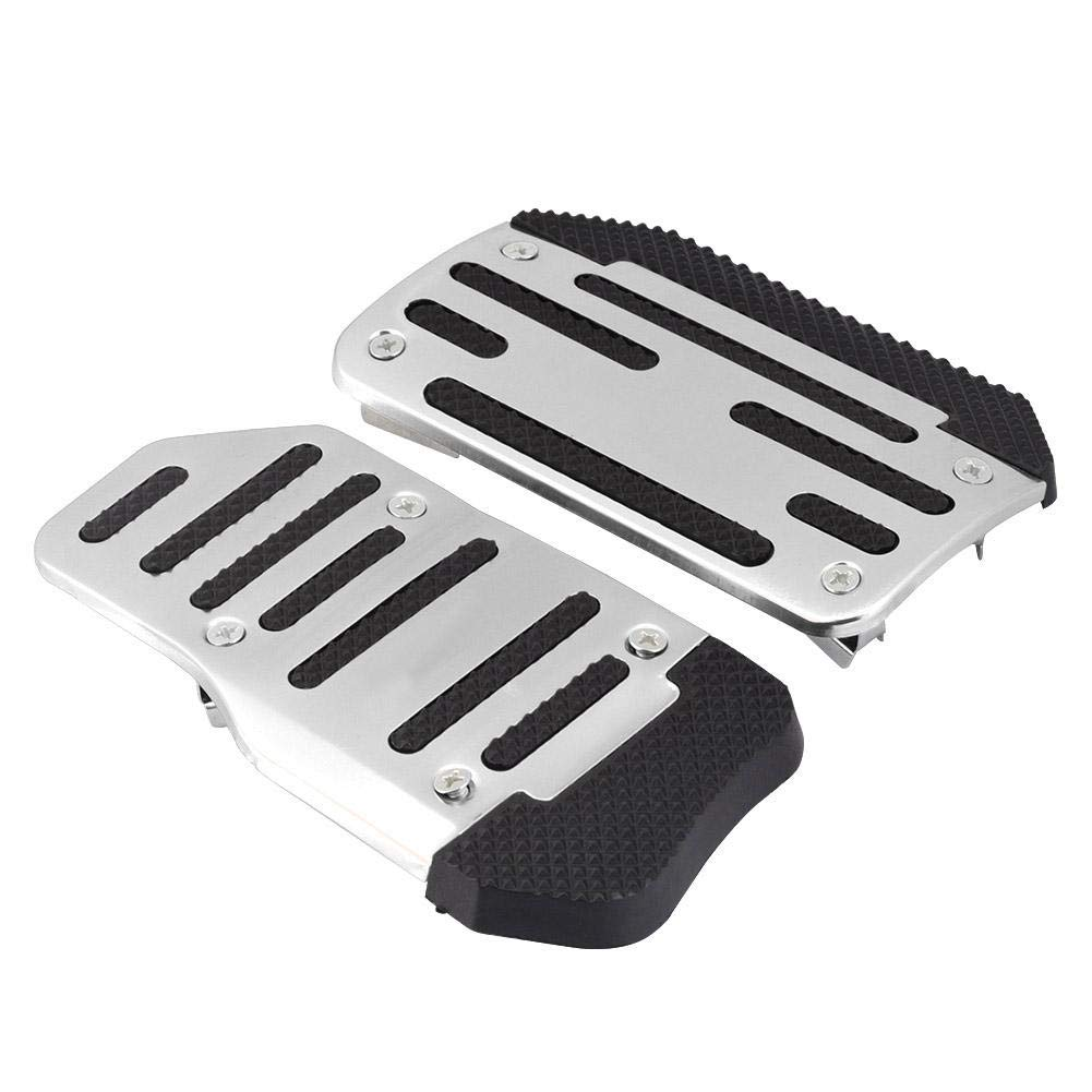 Silver Cuque Brake Pedal Cover Non-Slip Accelerator Pad Alloy Nonslip Accelerator Pad Cover Abs Aluminum Alloy Material Red Blue Silver Car Automatic Vehicle Universal