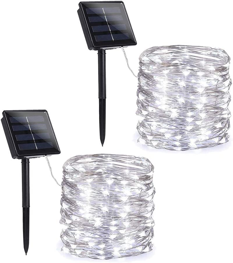 Toodour Solar String Lights, 2 Packs 72ft 200 LED 8 Modes Solar Fairy Lights, Waterproof Outdoor String Lights, Copper Wire Fairy Lights for Garden, Party, Wedding, Holiday Decorations (White)