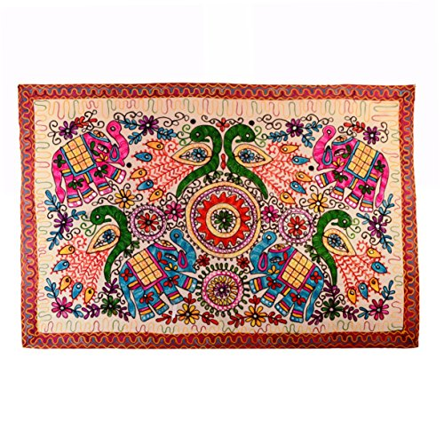 (Purpledip Finely Embriodered Indian vintage Small Tapestry Table Cover Wall Hanging Cotton Wall Decor Jungle Jambooree (11271))