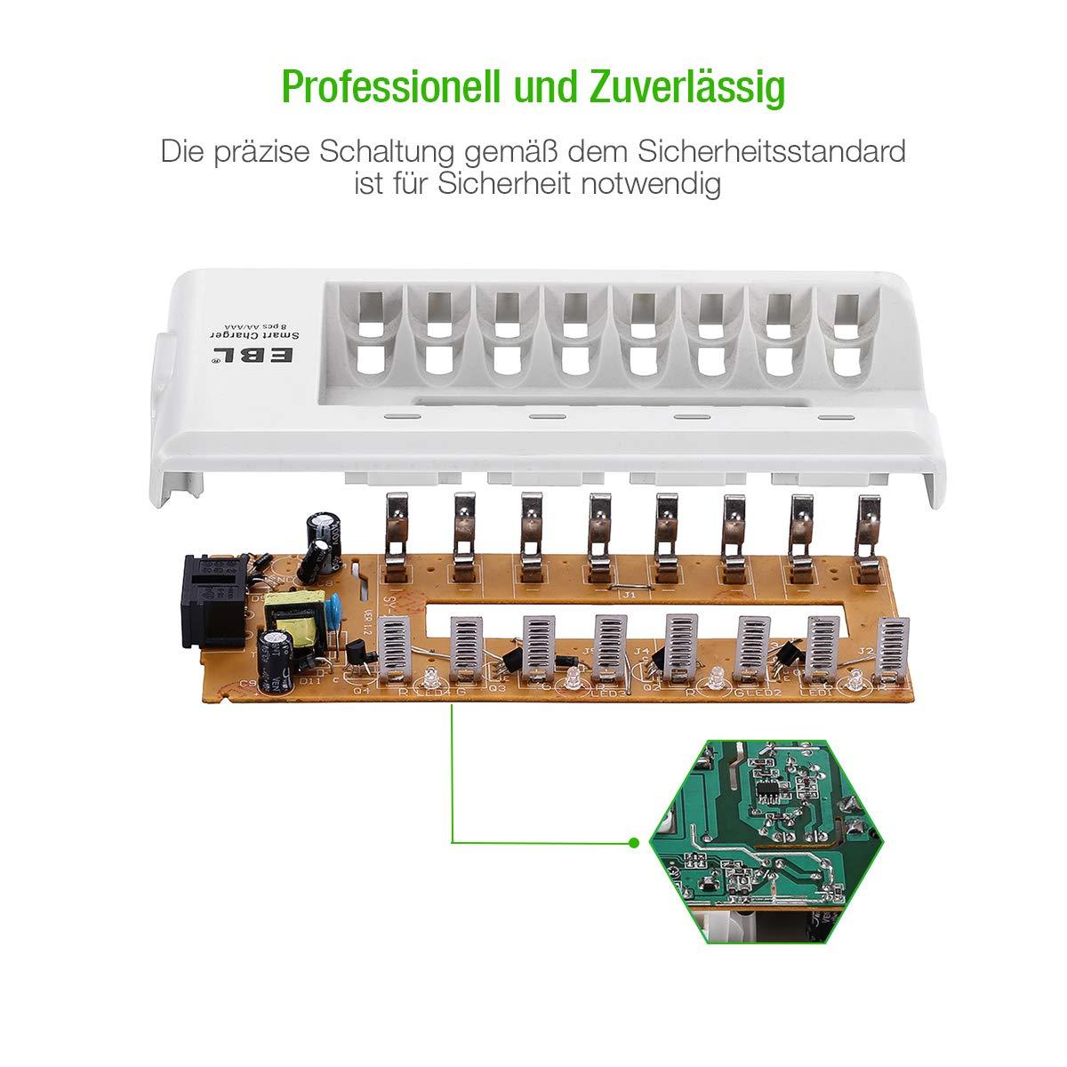 EBL 8 Stecker Akku Ladegerät mit 8 Stück 800mAh NI-MH Wiederaufladbaren Micro AAA Akkus (Ladegerät + 800mAh AAA Batterien*8)