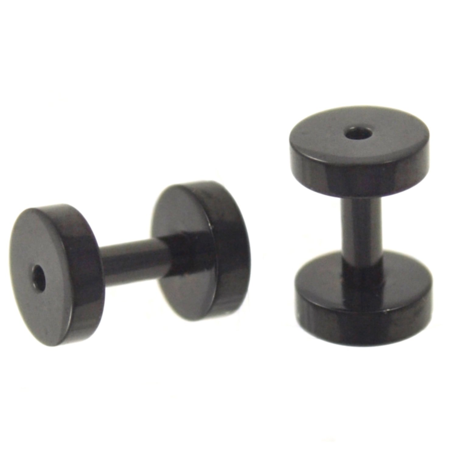 Pair of Solid Black Titanium Plated Ear Tunnels Plugs Screw-On Gauges - 12G 2MM