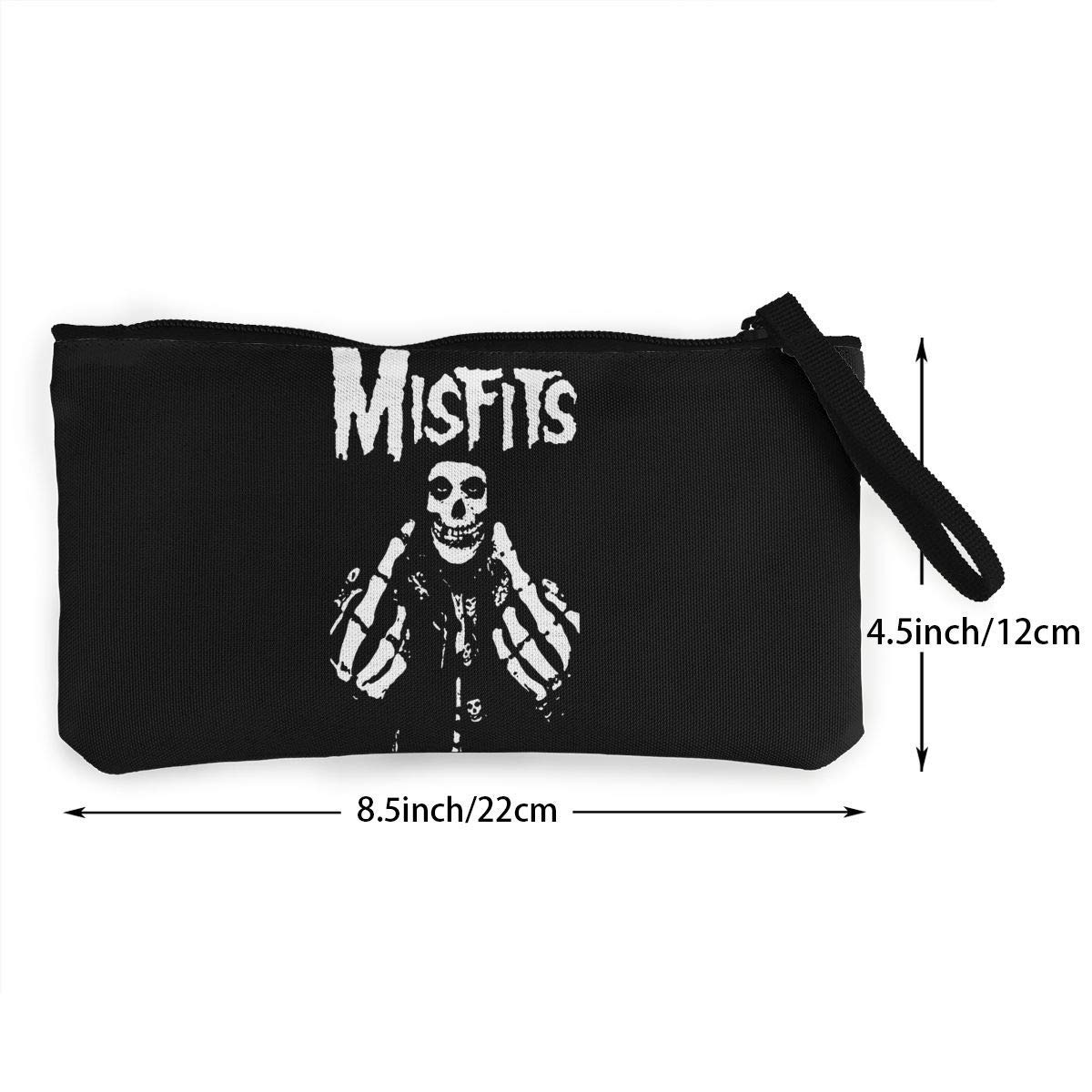 Misfits Fxx Skull Logo Canvas Cash Coin Purse Make Up Bag Cellphone Bag With Zipper And Handle