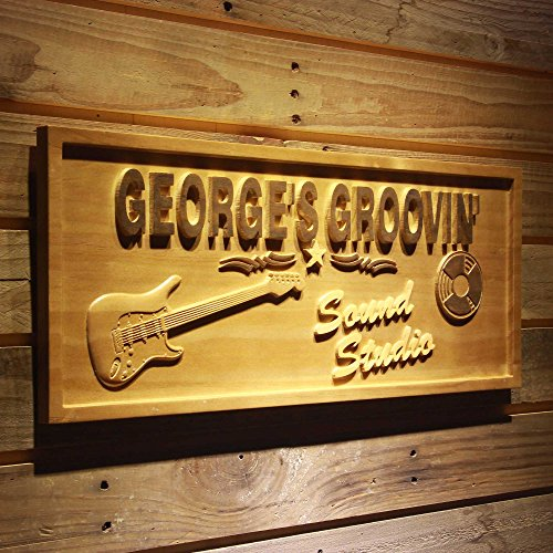 (ADVPRO wpa0265 Name Personalized Sound STUIDO Guitar Music Band Room Decor Wood Engraved Wooden Sign - Standard 23