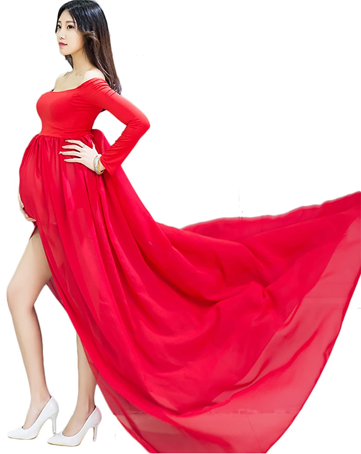 Maternity Off Shoulder Chiffon Gown Split Front Maxi Dress with Underwear 2Pcs Set Hopeverl