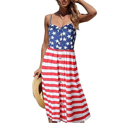 04a591daf0d7 Gyoume American Flag Dress Women 4th of July Dress Sleeveless Mini Dress  Plus Size Dress (