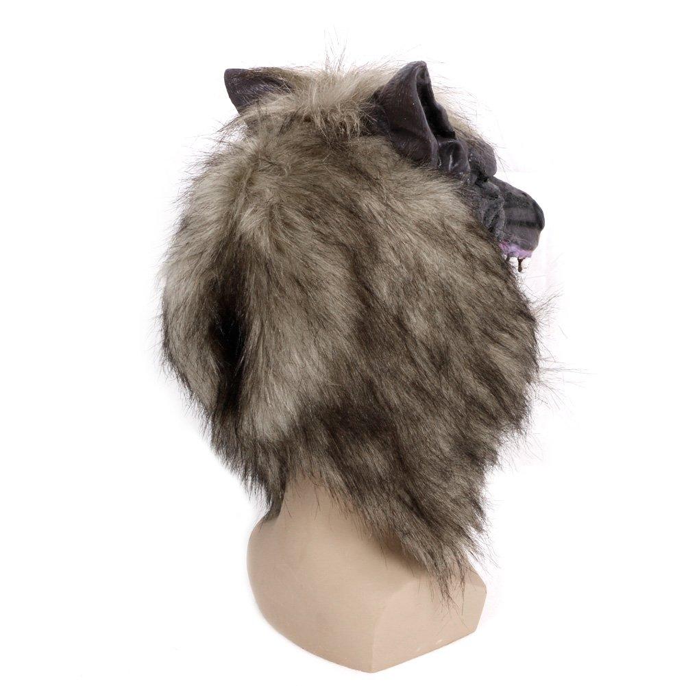 Tebatu Latex Animal Wolf Head with Hair Mask Fancy Dress Costume Halloween Party Scary