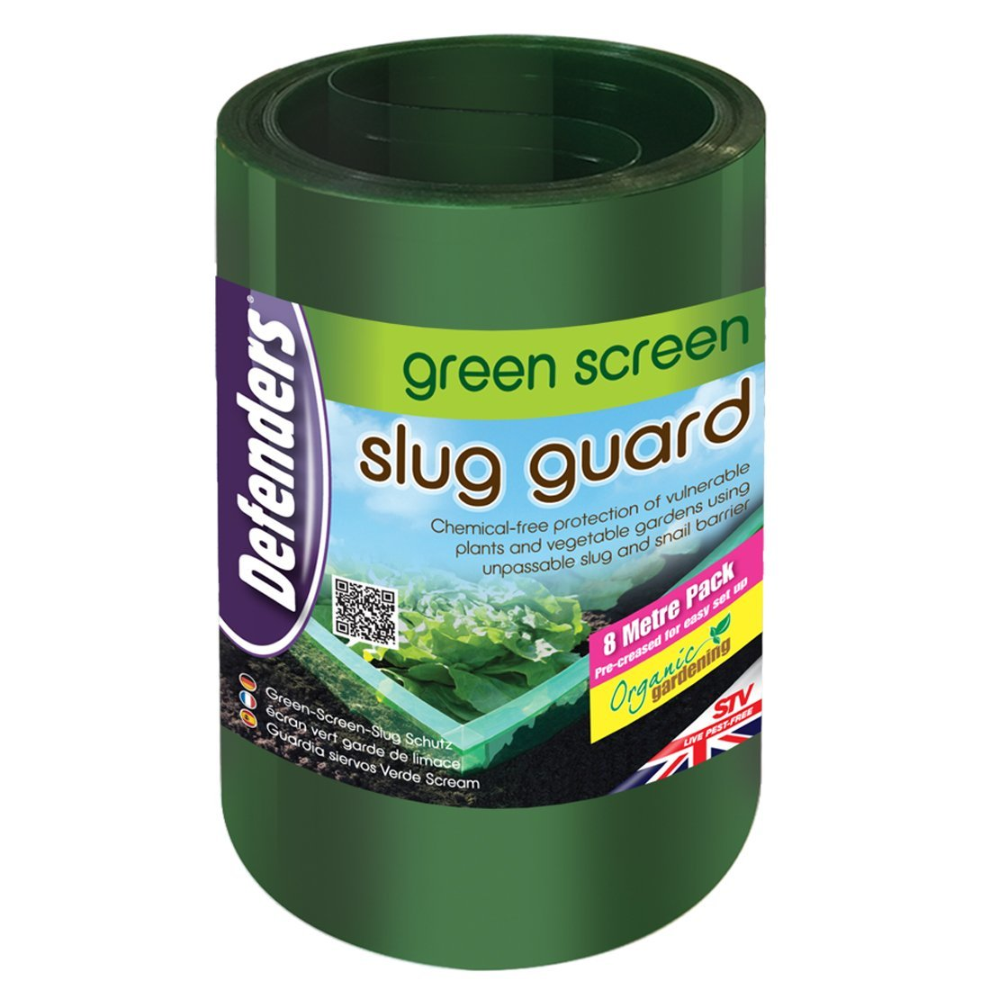 STV International Defenders 8 m Green Screen Slug Guard (Easy to Use, Pre-Folded Slug and Snail Barrier, Protects Plants, Suitable for Natural, Organic Gardening) - Pack of 1 STV099