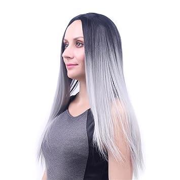 De la moda de las pelucas gris degradado de negro peluca de pelo largo recta: Amazon.es: Deportes y aire libre