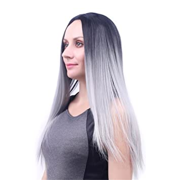 De la moda de las pelucas gris degradado de negro peluca de pelo