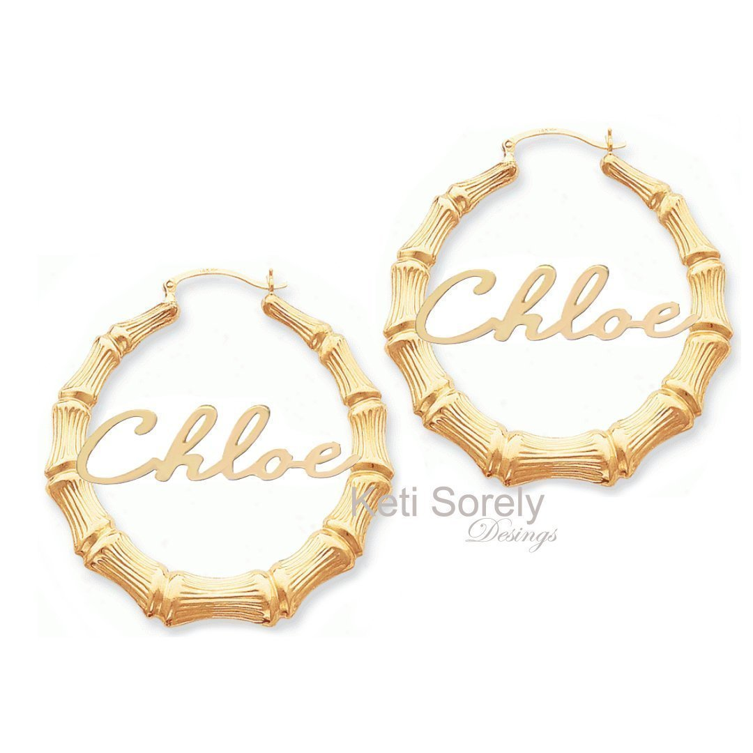 Large Bamboo Name Earrings in Gold or Silver.