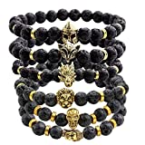 JOVIVI Jewelry 6pc Men Women 8mm Mix Style Gold Plated Lion/Wolf/Fox/Sparta Helmet Black Lava Energy Stone Beads Stretch Bracelet