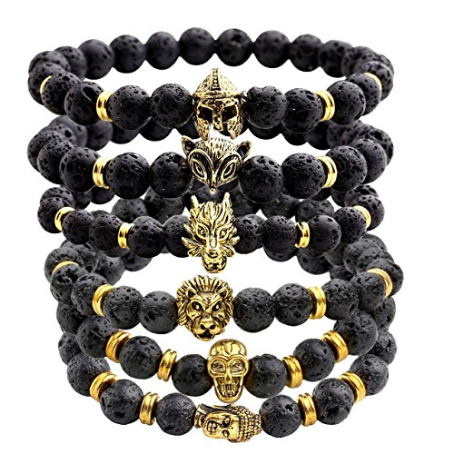 JOVIVI JOVIVI Jewelry 6pc Men Women 8mm Mix Style Gold Plated Lion/Wolf/Fox/Sparta Helmet Black Lava Energy Stone Beads Stretch Bracelet price tips cheap
