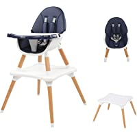 JOYMOR 5-in-1 Baby High Chair for Infants to Toddler, 4-Position Adjustable for Baby/Infants/Toddlers,Wooden Highchair…