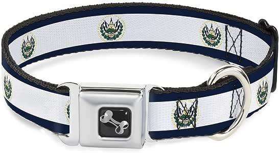 Buckle Down Bandera de El Salvador Collar de Perro Hueso, pequeño/9 – 15
