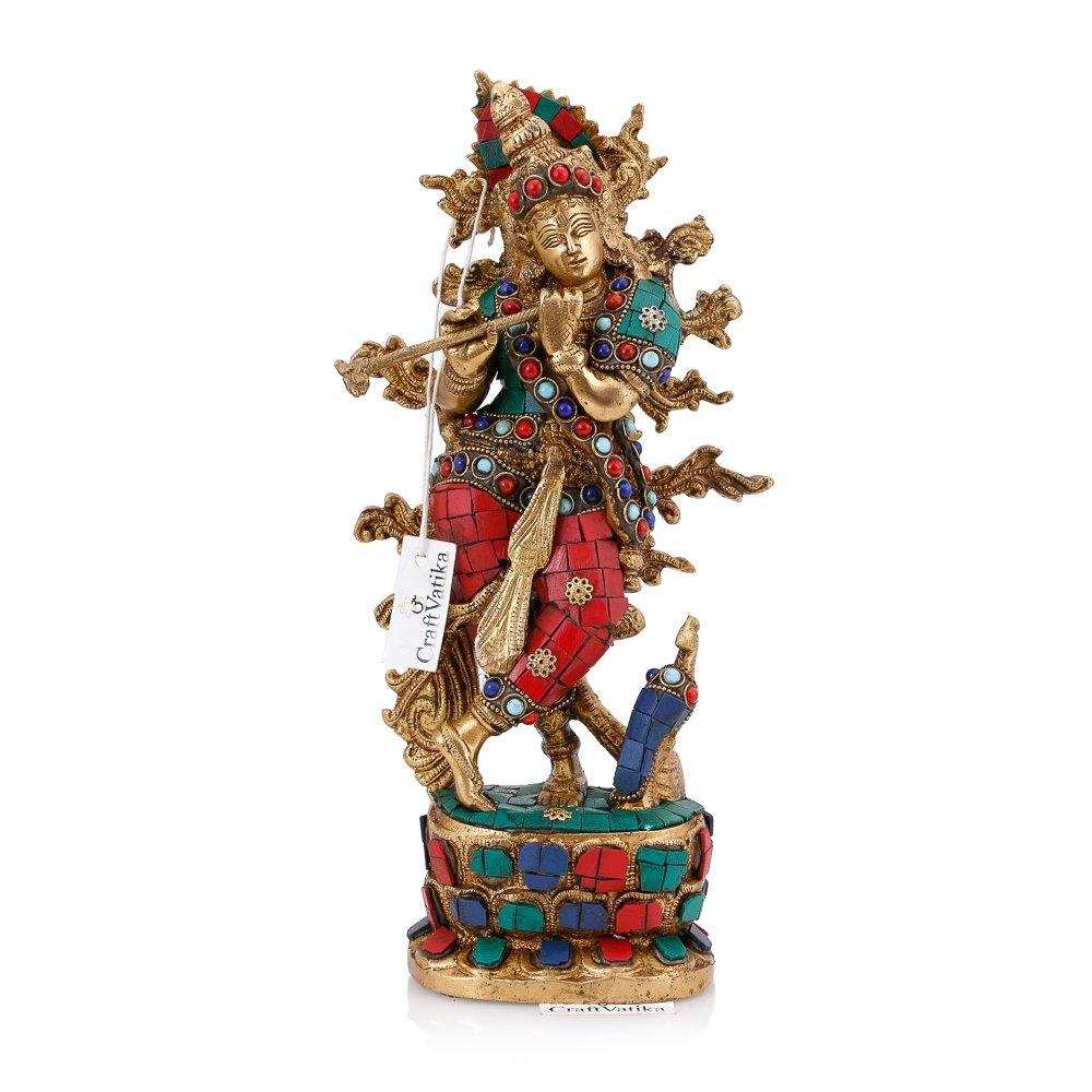 CraftVatika Brass Krishna Statue Hindu Divine Love God Beautiful Sculpture Home Decorative Figurine