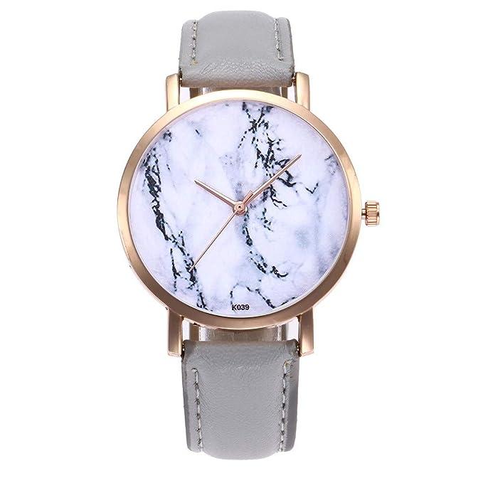 DressLksnf_Reloj Lujo Moda de Mujer Pulsera Estilo Oficina Banda de Cuero Reloj Cadena Ajuste Patrón de Mármol Simple Acero Inoxidable Durable Digital ...