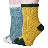 Womens Girls Cute Slipper Sleeping Winter Crew Fuzzy and Warm Socks One Size Fits All (Yellow+Blue-2Pairs)