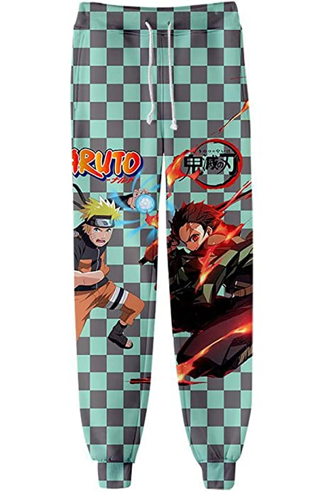 Demon Slayer Kimetsu no Yaiba /& Naruto Sweatpants Mens 3D Cool Novelty Anime Sweatpants Jogger Sports Active Pants B,L