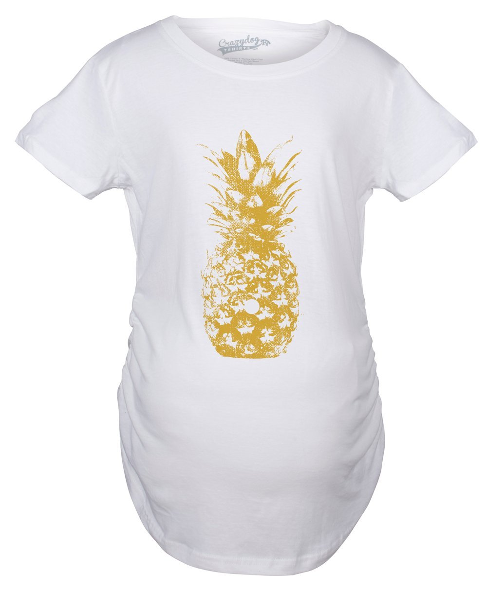 Maternity Pineapple Graphic Tshirt Cute Trendy Fruit Pregnancy Tee -S