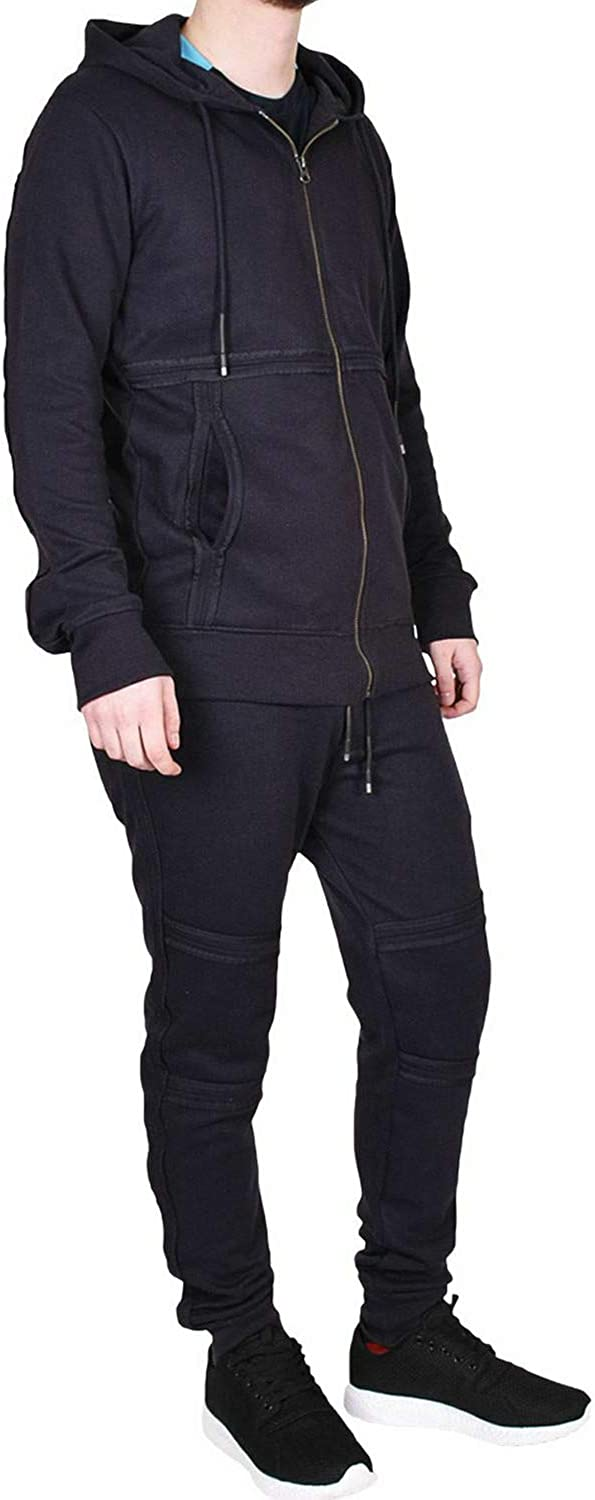 Mens Tracksuits Zip Hoodie Jogging Suit Bottoms Gym Trousers Sports Workout Elasticated Joggers Running with Pockets Sweatshirt Top Slim Fit Casual Wear