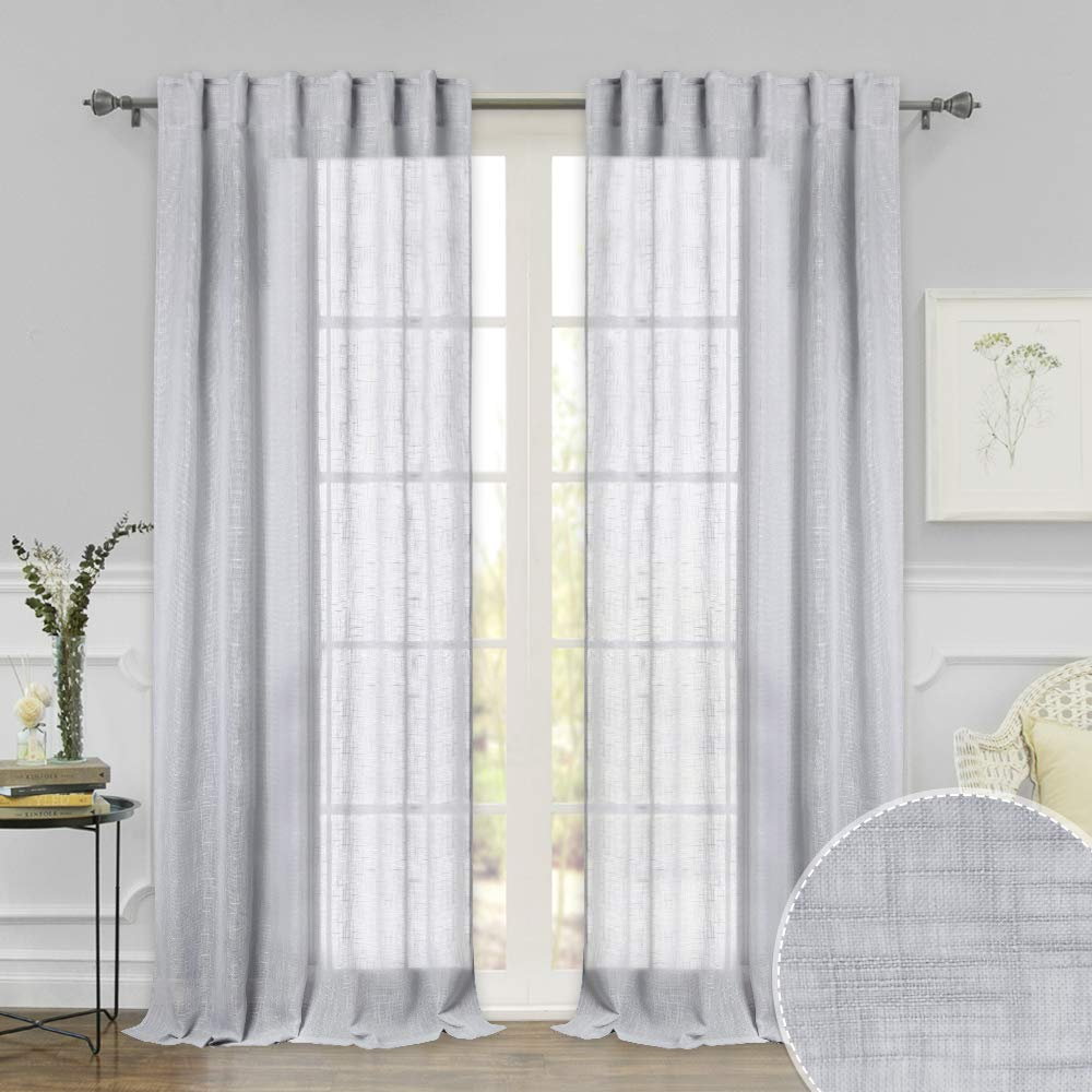 RYB HOME Decor Privacy Sheer Curtains for Living Room, Texeure Pattern Voile Drapes Glare Filtering for Bedroom, Back Loops & Rod Pocket Window Treatment, Dove Grey, Width 52 x Length 95, 1 Pair