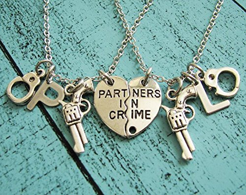 (partners in crime necklace, best friend gift, mothers day gift, friendship necklace set, cowgirl necklace western jewelry, sister gift, gun)