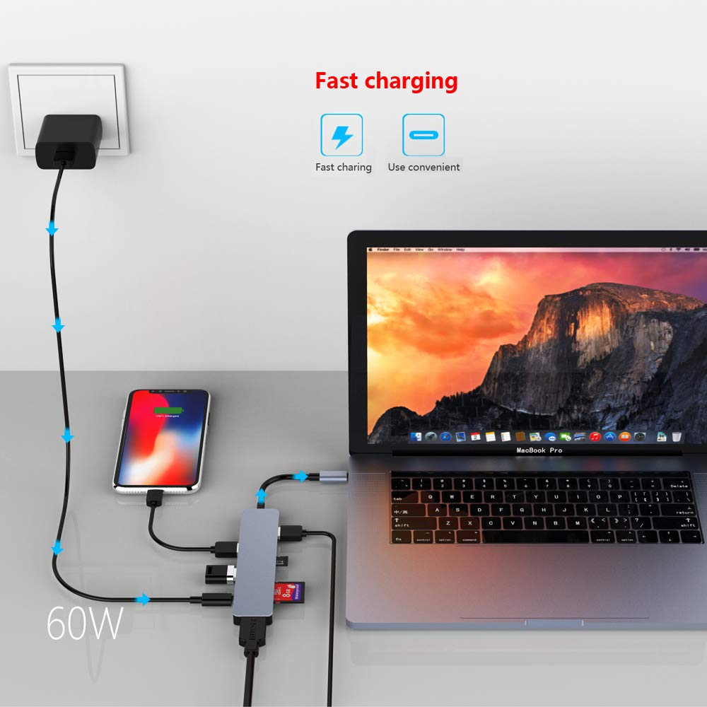 Joody USB C Hub, 7 in 1 Type C Hub with USB C to 4K HDMI, 3 USB 3.0 Ports, SD/TF Card Reader, USB-C Power Delivery Compatible with MacBook Pro 2018 2017 and Other Type C Laptops - Space Gray