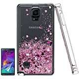 Note 4 Case, Galaxy Note 4 Case, [Love Heart Series]Liquid Glitter Cute Phone Cover with HD Screen Protector, Bling Liquid Sparkly Luxury Soft Protective for Girl Women Samsung Galaxy Note 4 Rose Gold