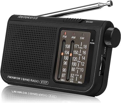 Retekess V117 Radio Portátil Radio de Bolsillo Am/FM/SW 3 Bandas con Perilla de Ajuste de Tipo Cilíndrico (Negro): Amazon.es: Electrónica
