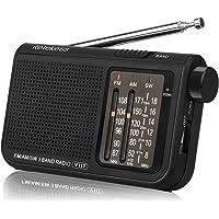 Retekess V117 Radio Portable FM AM SW Radio de Poche Portable Mini Radio d'urgence avec Bouton de réglage du Type de Cylindre (Noir)