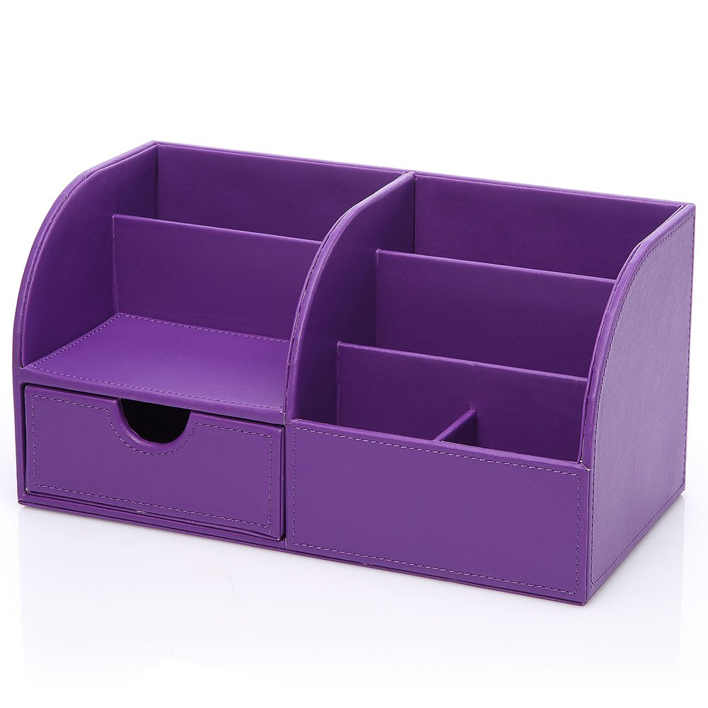 ... Office Desktop Organizer, Stationery Storage Box Collection, Business  Card/Pen/Pencil/Mobile Phone /Remote Control Holder (Purple) : Office  Products
