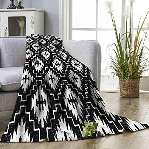 - Big datastore Blanket Aztec,Tribal Abstract Tile Pattern Custom Design Cozy Flannel Blanket Size:60