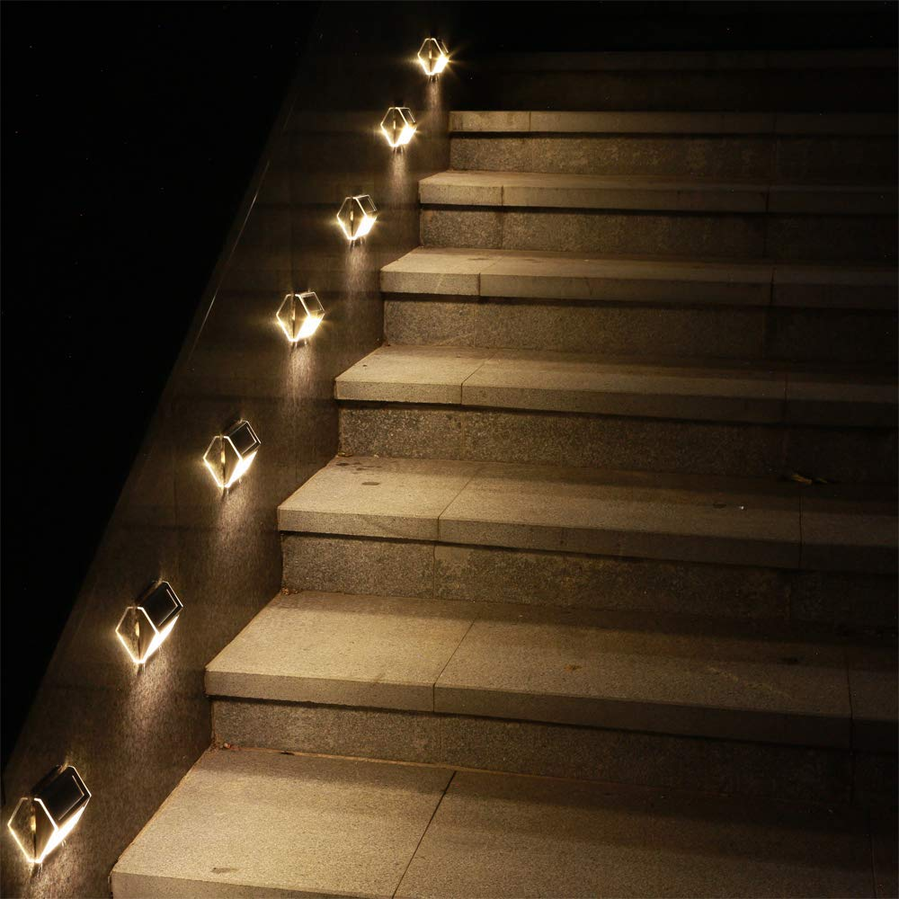 Solar Deck Lights, KASUN Super Bright LED Walkway Light Stainless Steel Waterproof Outdoor Security Lamps for Patio Stairs Garden Pathway (Yellow Light - 12PCS) by KASUN (Image #6)