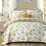 Luxury Flower Print Cotton Quilt Coverlet Set Queen Floral Reversible Bedspread Set Full 1 Quilt with 2 Pillow Shams Lightweight Soft Girls Quilt Blanket for Kids Adults All Seasons Comforter