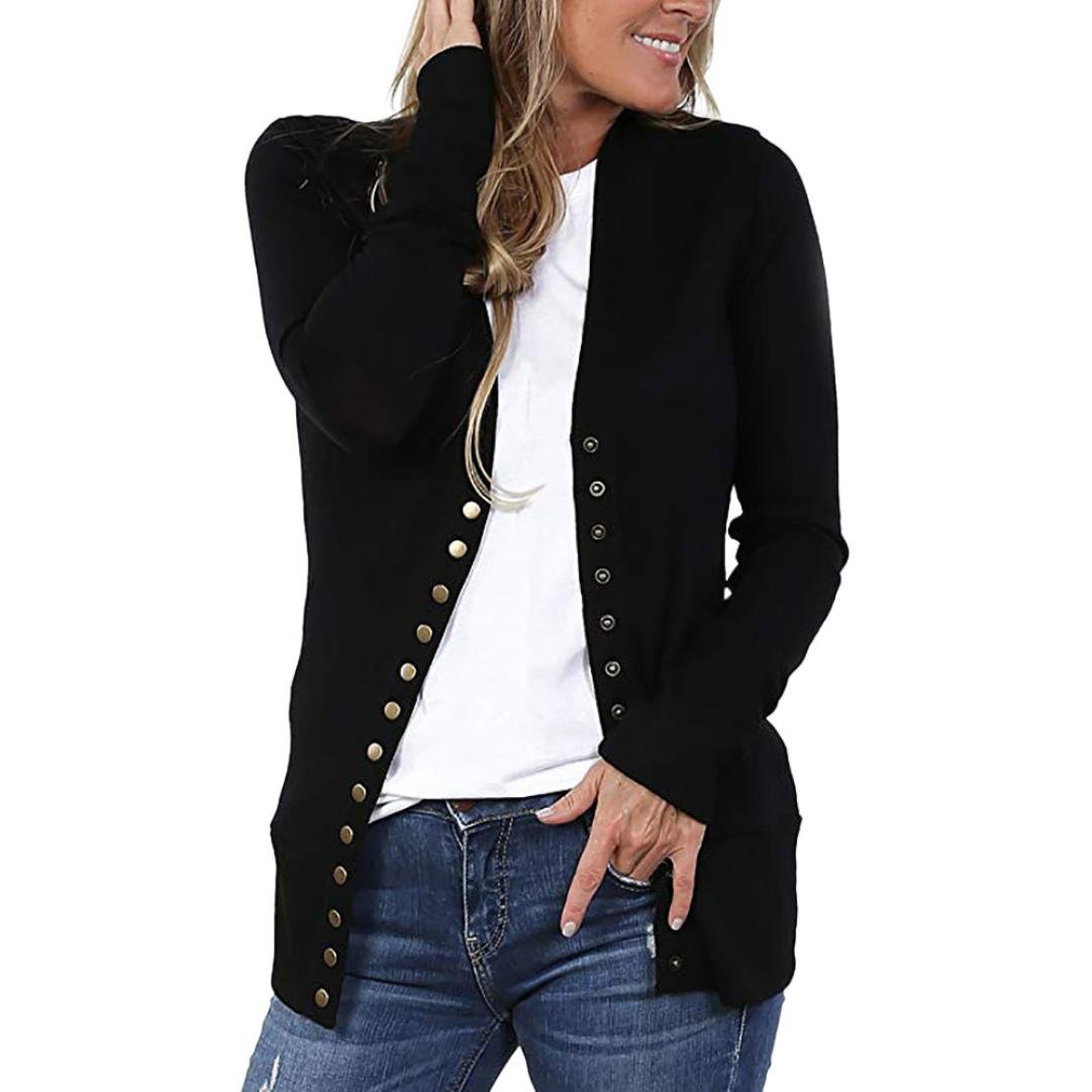 Women Button Up Long Sleeve Open Front Knit Cardigan Classic Lightweight Sweater(Black ,small)