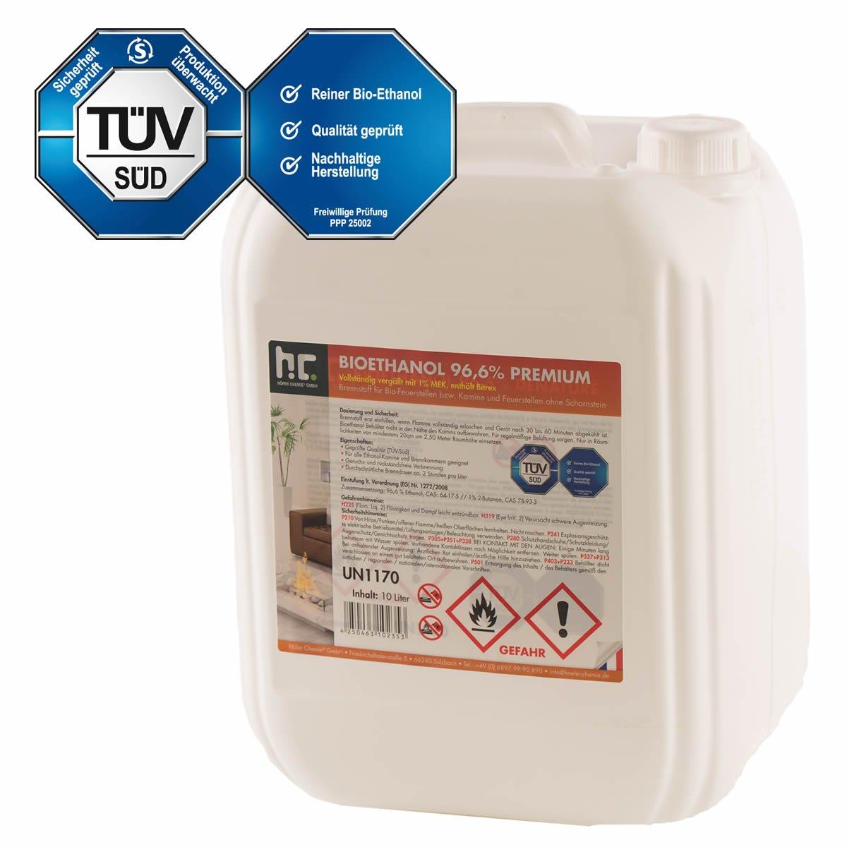 Höfer Chemie 1 x 10 L Bioethanol 96,6% Premium - TÜV SÜD zertifizierte QUALITÄT - für Ethanol Kamin, Ethanol Feuerstelle, Ethanol Tischfeuer und Bioethanol Kamin Höfer Chemie GmbH
