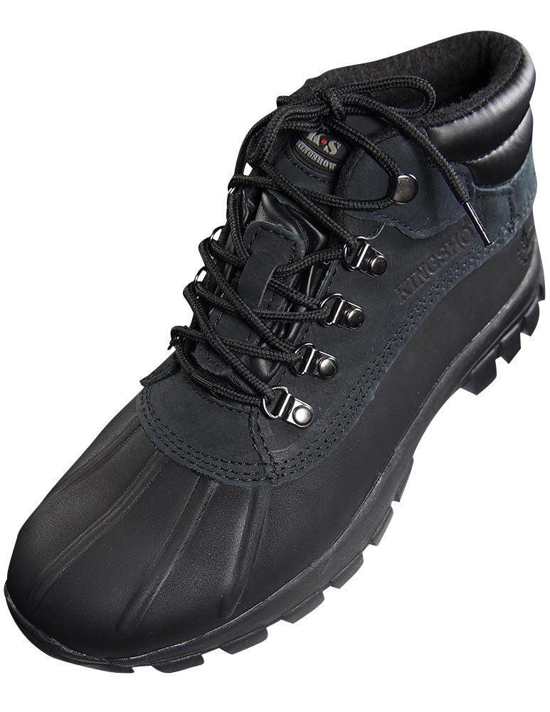 KINGSHOW - Mens Warm Waterproof Winter Leather High Height Snow Boot, Black 37122-13D(M) US