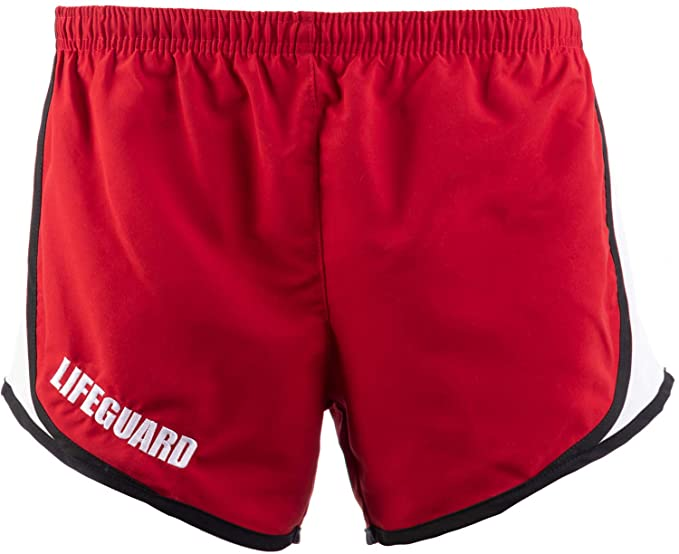 dd6ebcae06 Lifeguard Girly Running Shorts | Red Women's Lifeguarding Swim Bottoms  w/Liner-(BoxMesh