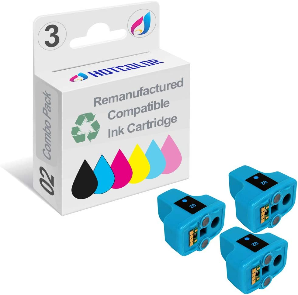 HOTCOLOR 3 Pack 02 02XL Cyan Remanufactured Inkjet Cartridges for HP 02XL HP02XL HP 02 Cyan C8771WN#140 Ink Cartridge