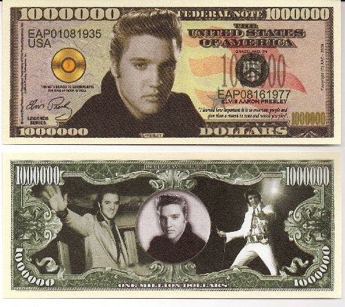 Elvis Presely $Million Dollar Novelty Collectible Bill W/ Free Plastic bill protector