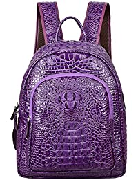 Women Leather Backpack Crocodile School Backpack Casual Rucksack (G9935 coffee)