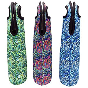 Wine Tote Carrier Bag / Purse For Champagne, Chardonnay, Water Bottles - (Paisley Pattern - 3 Pack)