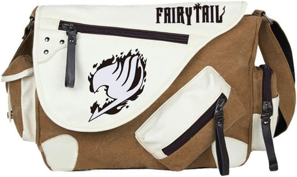 Gumstyle Fairy Tail Anime Cosplay Canvas Messenger Bag Crossbody Sling Shoulder Schoolbag for Boys Girls Brown 1