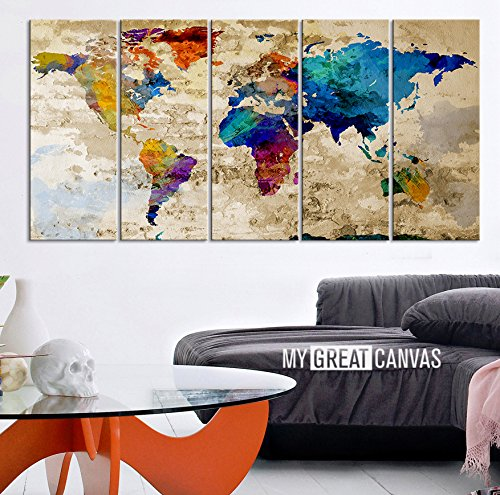 World map canvas print contemporary 5 panel colorful abstract ezon ch modern art world map canvas print contemporary 5 panel colorful abstract rainbow colors large wall art gumiabroncs Gallery