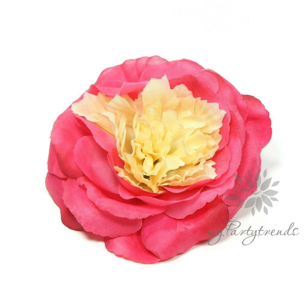 myPartytrends Elegante Haarrose in rubinrot (Ø 12 cm; Höhe 4,5 cm) (Ansteckrose, Haarblume mit Schnabelspange, Haarschmuck) englische Rose myPartytrends